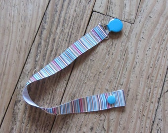 Pacifier Ribbon grosgrain striped / turquoise snap