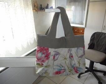 floral on gray linen handbag