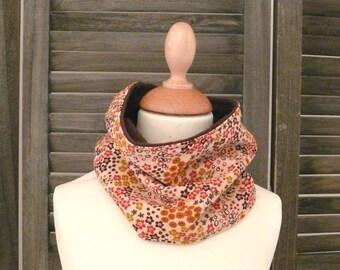 SNOOD scarf, beige and orange fleece lined