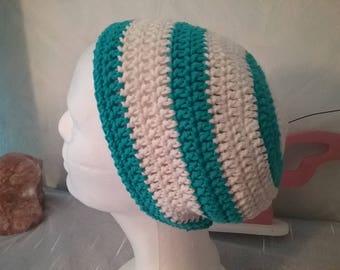 Striped Beanie / Hat / Beanie / Cap cotton Hat / cotton / turquoise white / striped /.
