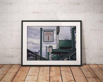 Fenway Park, Red Sox, baseball, Boston MA, Massachusetts, Green Monster, wall decor, photograph, canvas