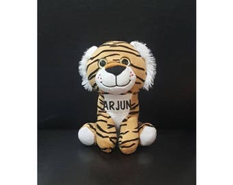 """6.5"""" Personalized Tiger Stuffed Animal *Shipping Fee waived for Pick Up orders*Provide Name & Location at Checkout in Note to Seller box*"""