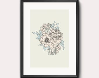 Floral print, flowers, pastel, blue, pink, green, wall art, digital art, peony, bouquet