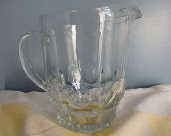 Vintage Clear Glass Thumbprint Pitcher/ Continental Can Company Pitcher/ Heavy Glass Pitcher/Water,Lemonade,Orange Juice Pitcher