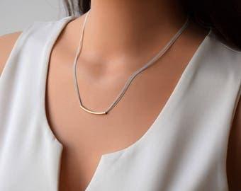 Delicate Bar Necklace,Minimalist Silver Necklace,Goldfilled Tube Necklace,Silver Dainty Necklace,Dainty Silver Necklace,Layered Necklace