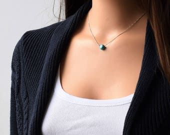 Turquoise Silver Necklace, Turquoise Necklace, Natural Turquoise Necklace, December Birthstone, Turquoise Pendant Necklace, Stone  Necklace