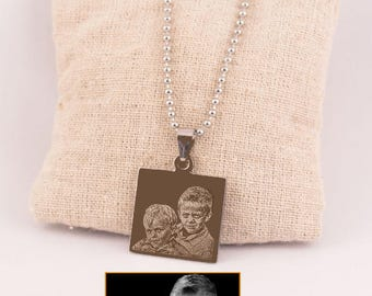 Photogravure steel square pendant - Personalized pendant mothers day or father's day