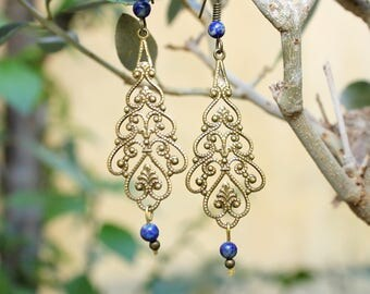 Lapis lazuli and filigree charm earrings