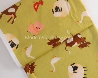 Riley Blake Farm Fresh Fabric by October Afternoon C9000, Green Pig Sheep Cow Bird Goose Red Rooster Bird, Sold by the Half Yard BTHY