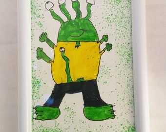 Simon the monster! framed original drawing! drawing by kids for kids!