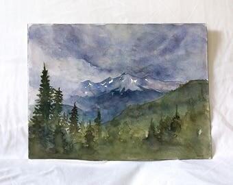 Original Stormy Rocky Mountain Watercolor