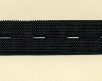 Buttonhole elastic flexible black 20 mm
