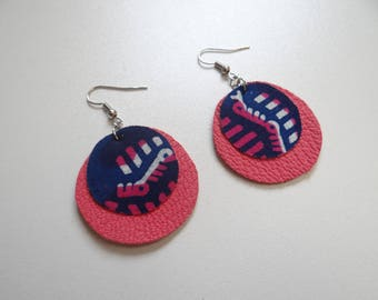 Pink and dark blue leather earrings