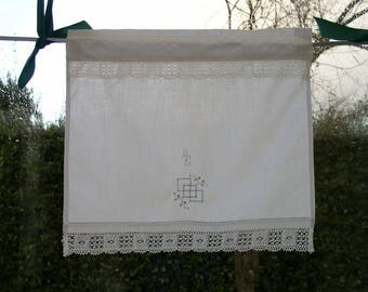 Pair of small curtains breeze-view(-sight) old hand embroidered