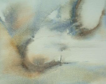 The end of the world - abstract watercolor lighthouse