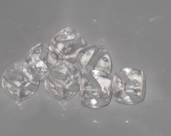Set of 7 beads from white acrylic 9mm faceted