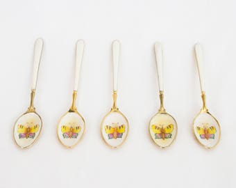 Beautiful enameled and gold plated teaspoons