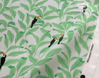 Midsummer Paradise 100% Cotton Fabric / BY HALF YARD / Toucan bird leaf / birds leaves / Green plant / quilting / Ykfabrics H2/19+