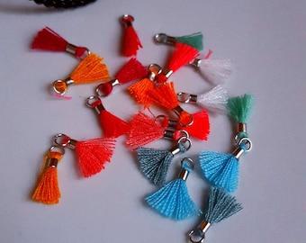 10 x mini pom poms 10 colors LOTar3 silver pendants