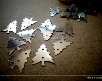 Set of 10 Christmas tree silver reflections for creating Scrapbook - children's activities