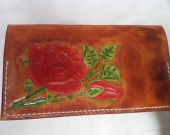 checkbook leather red rose