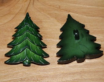 SET OF TWO LARGE BUTTON SHAPE TREE
