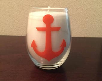 Custom Handmade Candle in a Wine Glass with an Anchor