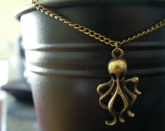 Bronze color necklace with Octopus pendant