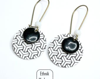 Black and white geometric pattern earrings