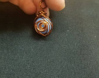 Copper wrapped periwinkle marble