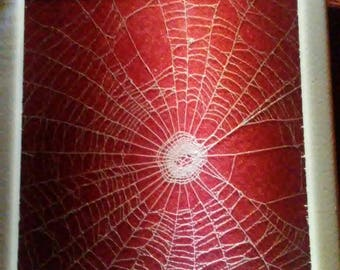 White orchard weaver spider web on red velvet