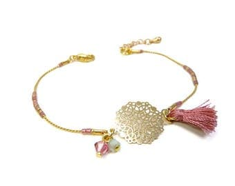 Pink thin minimalist old tassel and gold charm bracelet