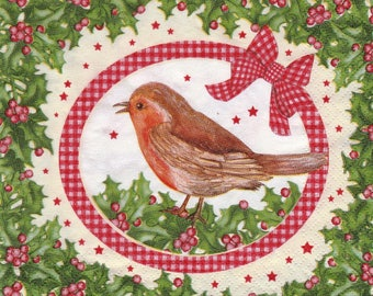 414 little bird on the Holly pattern X 4 paper towel