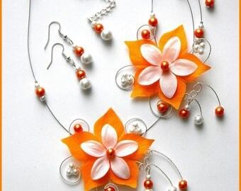 Silk orange white JULINE flower silver Pearl bridal set