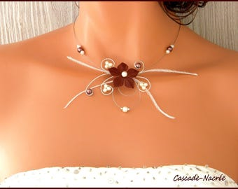 Flower chocolate Ines silver Ivory Pearl wedding bridal necklace