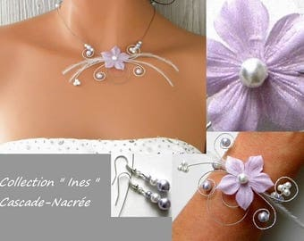Silk Ines purple violet white flower silver Pearl wedding bridal set