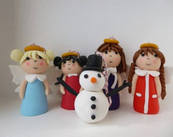 Angels and snowman to hang on your Christmas tree
