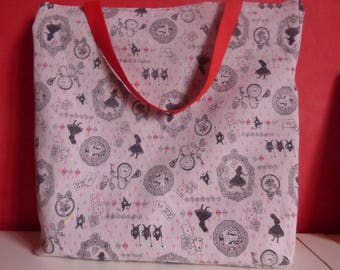 large tote, beach bag, linen handle theme alice in Wonderland
