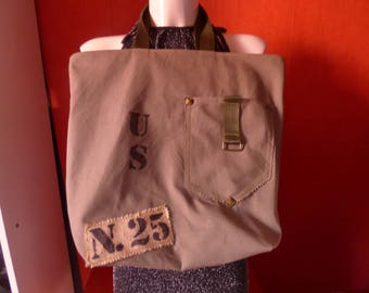 Tote bag, military style Army Green canvas beach bag