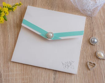 Handmade Pocketfold Wedding Invitation GreenCrissPearl