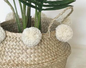 Fait à la main Pom Pom les herbiers du ventre panier - stockage / Decor plante Stand / cadeau / cadeau