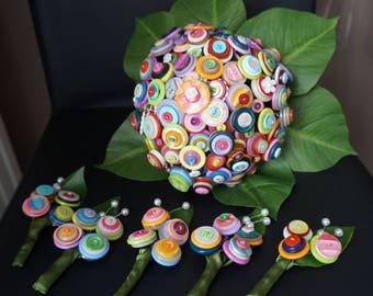 Multicolored button bridal bouquet and leaves