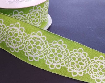 """FREE SHIPPING- 2.5"""" Wired Lime Green White Lace Pattern Linen Ribbon - 5 Yards"""