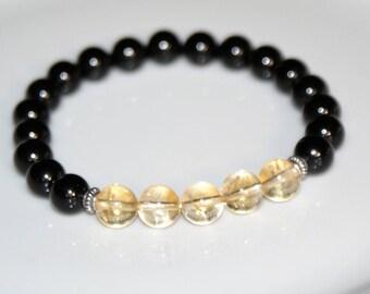 Bracelet tourmaline and citrine - 19 cm - man or woman