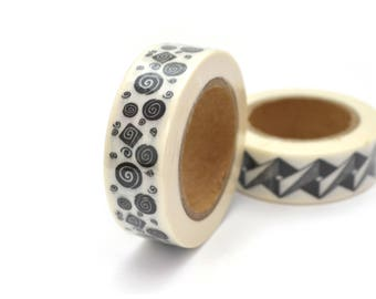 1 coil 10 m Washi tape spiral black and white 15mm