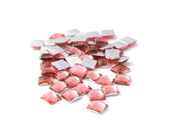 50 salmon pink square rhinestone 6mm faceted