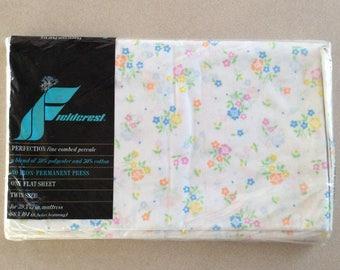 Fieldcrest Flat Sheet Twin Size Evening Bouquet Print