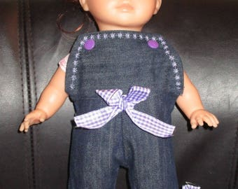 36 cm my overalls denim and purple bows Corolla doll clothing