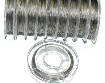 Roll - silver - 10 m - FILM15AG696 coated steel wire (0.38 mm)