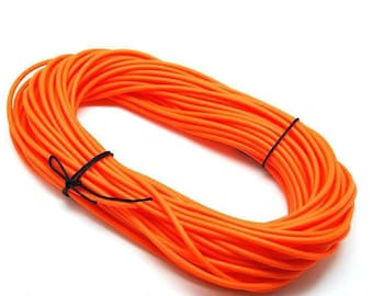 1 meter cord Buna rubber - round (4mm) - with hole (1. 8 mm) - Orange - RUBRD416LORA609